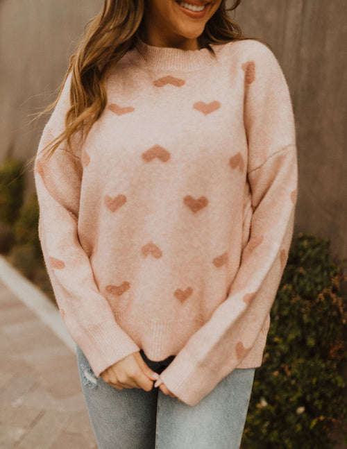 THE CRAZY IN LOVE HEART SWEATER IN PINK