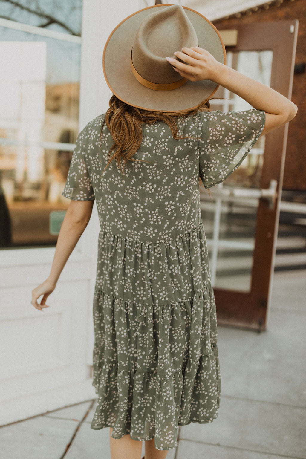 THE KENZIE TIERED DRESS IN SAGE