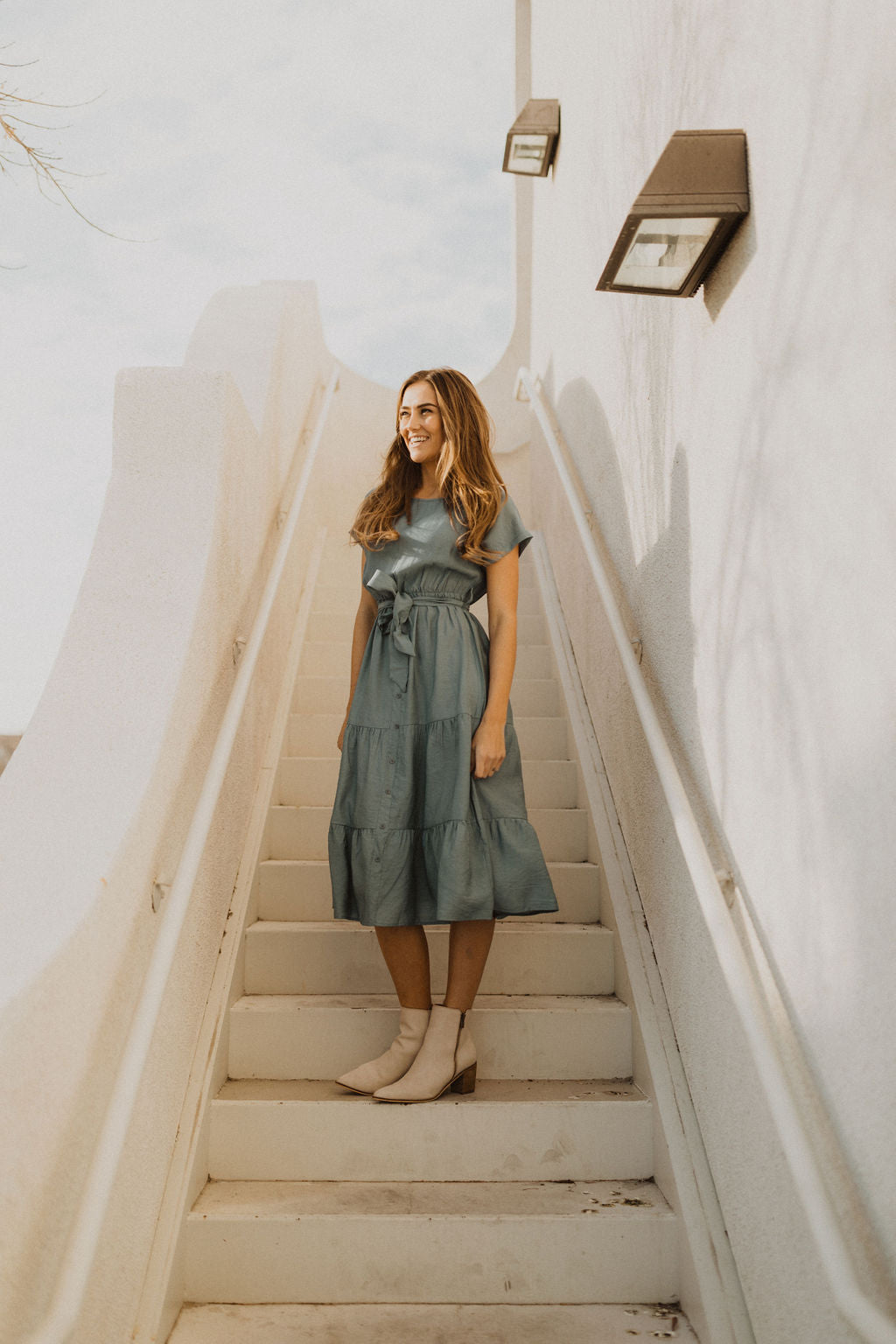 THE DAWSON MIDI DRESS IN DUSTY BLUE