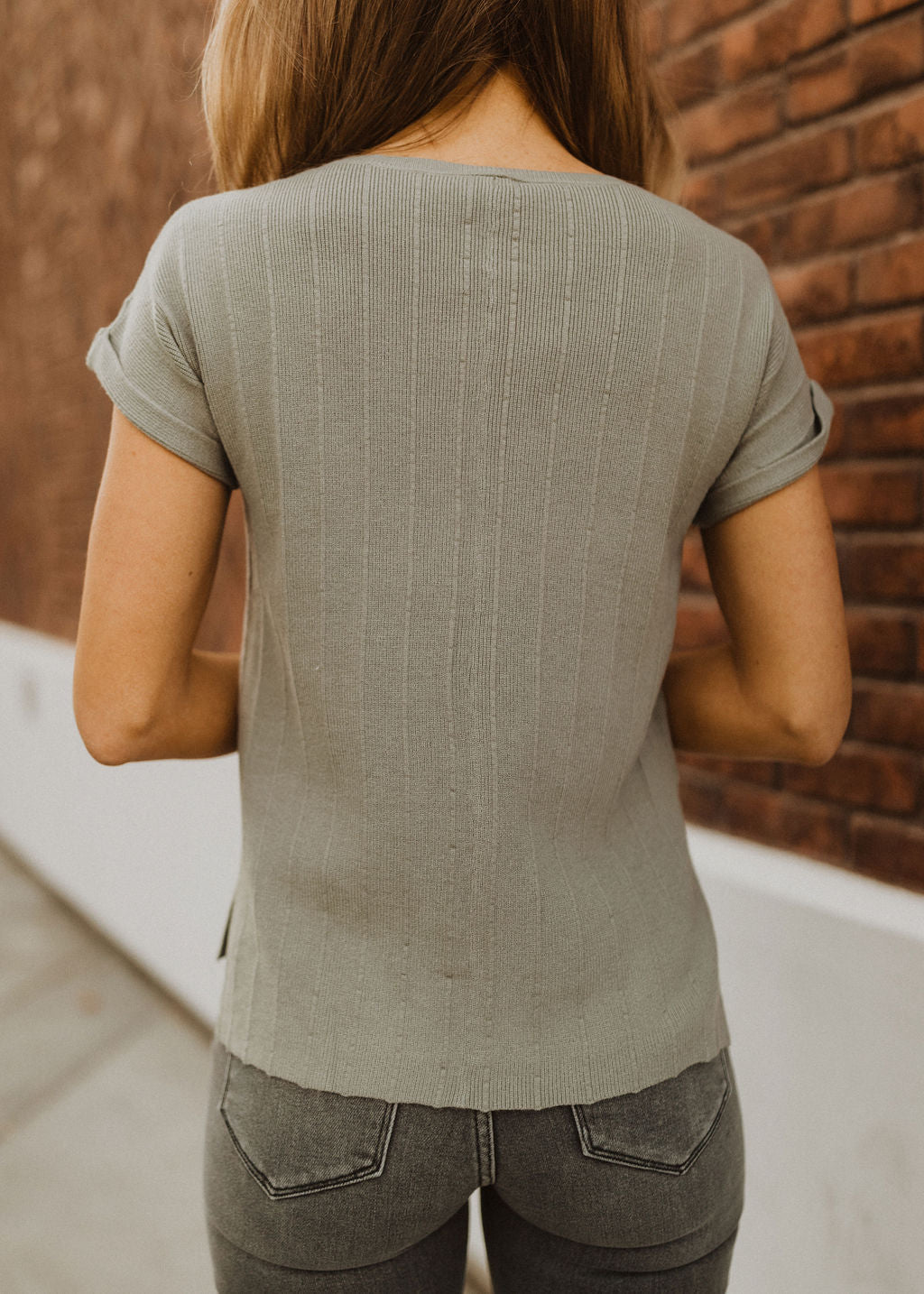 THE STASIA SHORT SLEEVE SWEATER IN SAGE