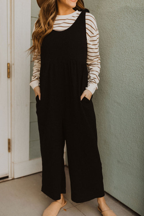 THE OBIE TIE STRAP OVERALLS IN BLACK