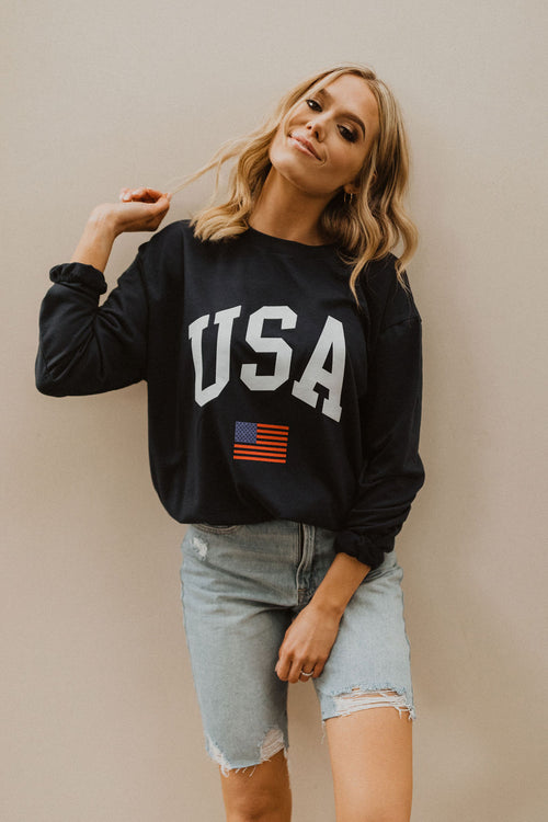 THE USA GRAPHIC PULLOVER IN NAVY