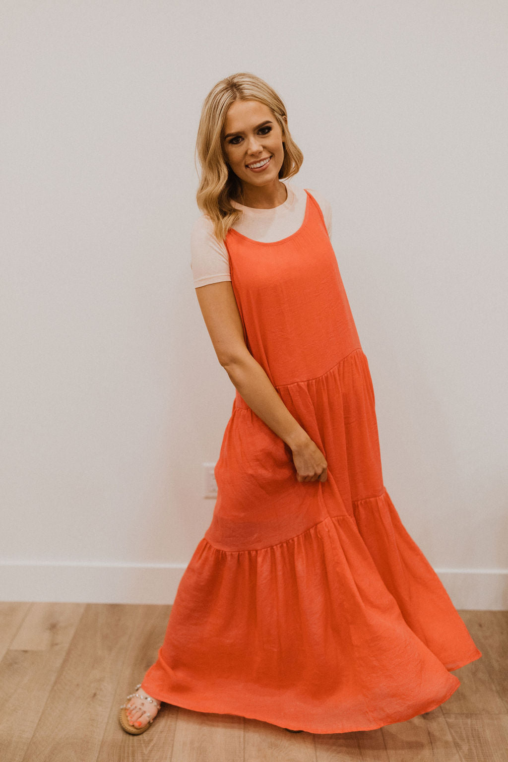THE CARSON TIERED MAXI DRESS IN CORAL