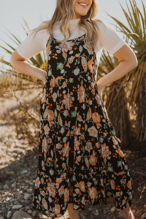 THE ROCHELLE FLORAL DRESS IN BLACK
