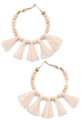 THE WOOD BEAD TASSEL EARRINGS IN IVORY