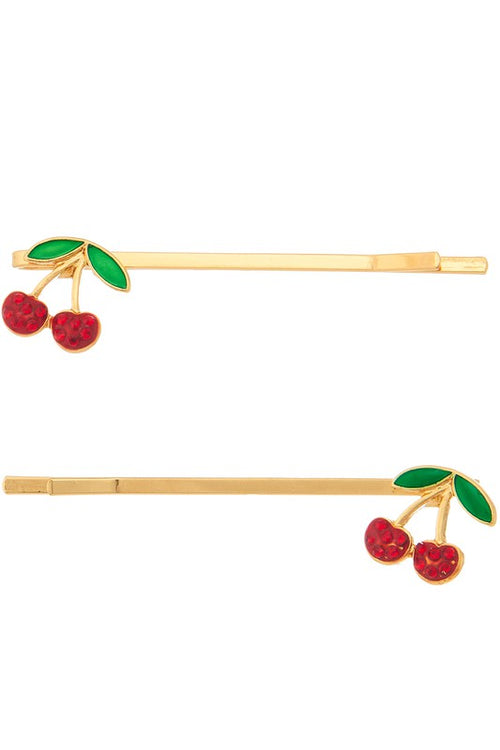 THE CHERRY BOBBY PIN SET IN GOLD