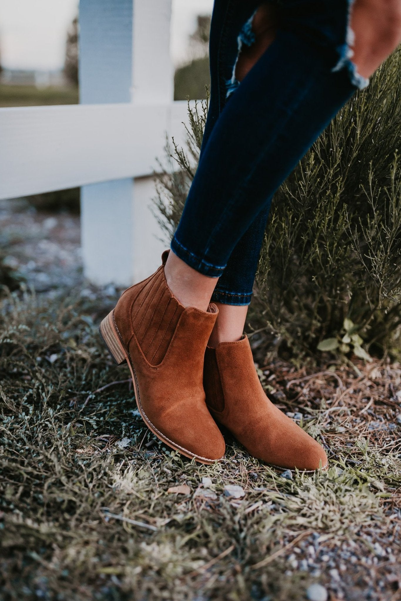 THE CASSIE SUEDE ANKLE BOOTIE IN WHISKEY