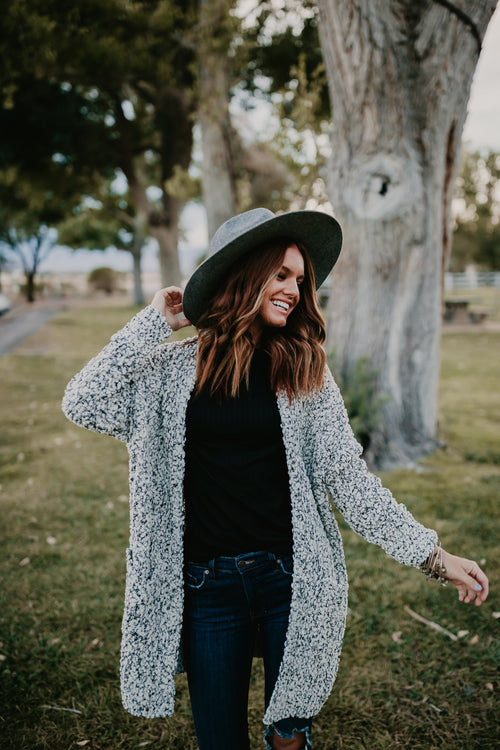 THE CEDAR CARDIGAN IN BLACK AND WHITE