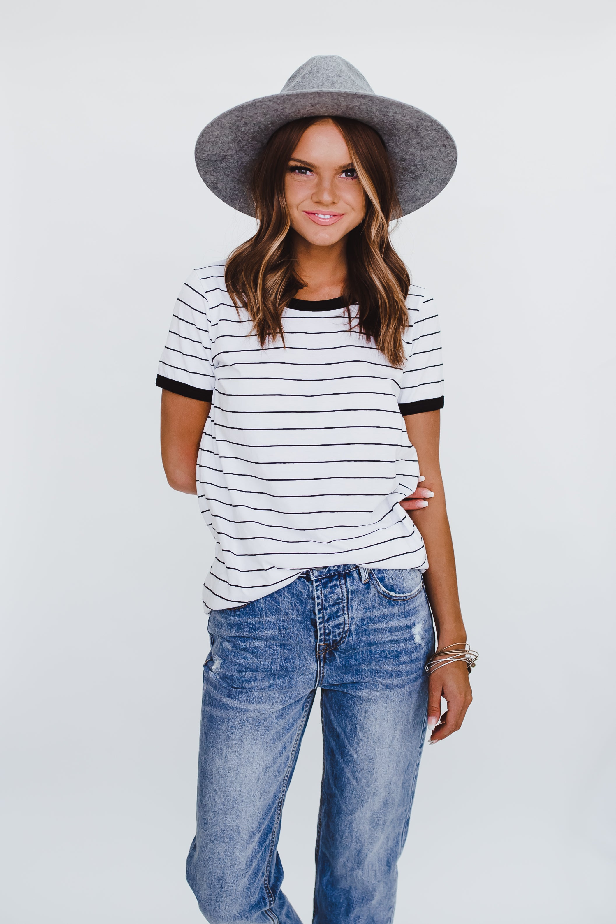 THE STRIPED RINGER TEE IN WHITE