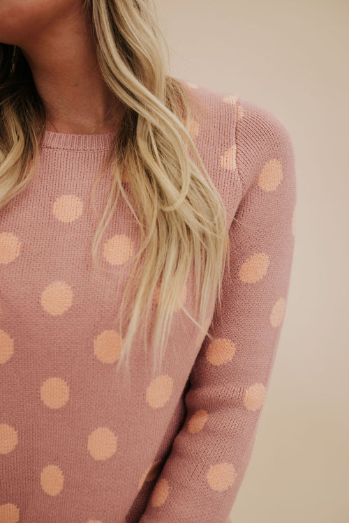 THE PENELOPE POLKA DOT SWEATER IN MAUVE