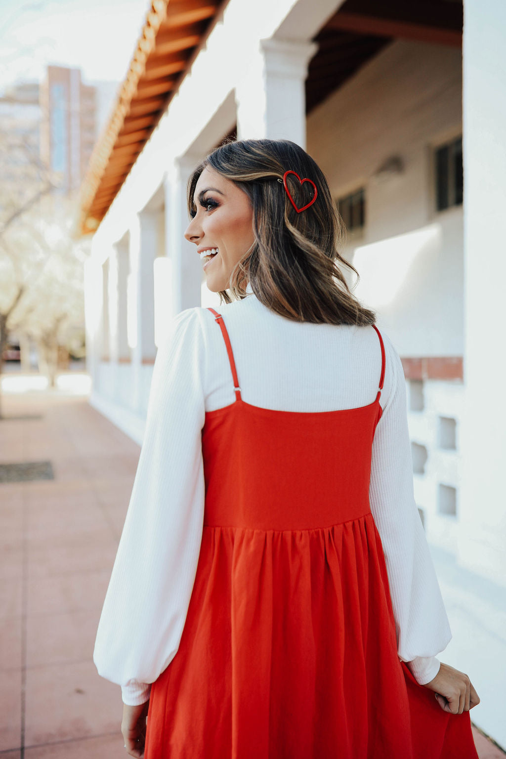 THE VALENTINA SLEEVELESS BABYDOLL DRESS IN RED