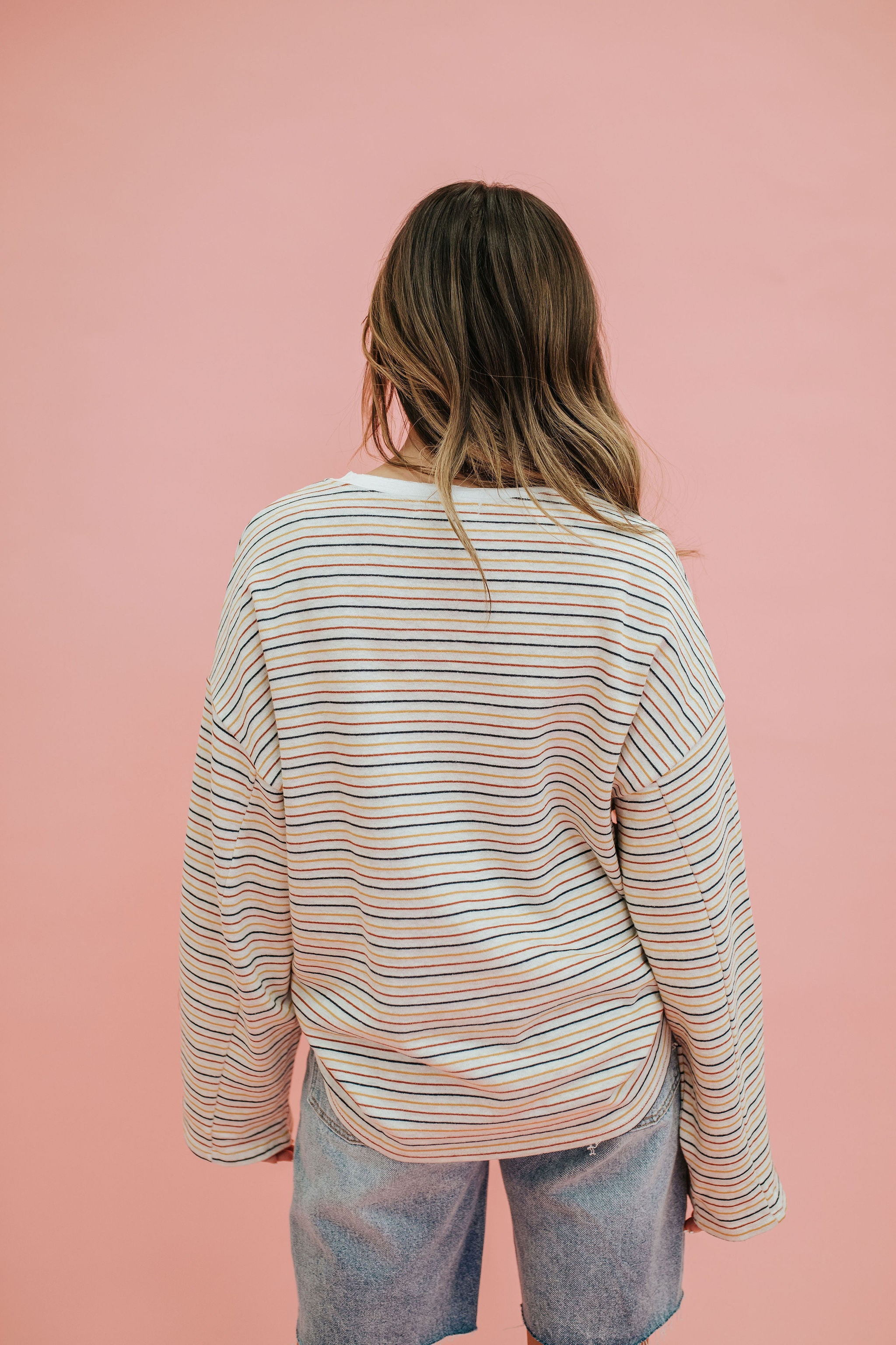 THE SKYLYNN PULLOVER TOP IN MULTI STRIPE