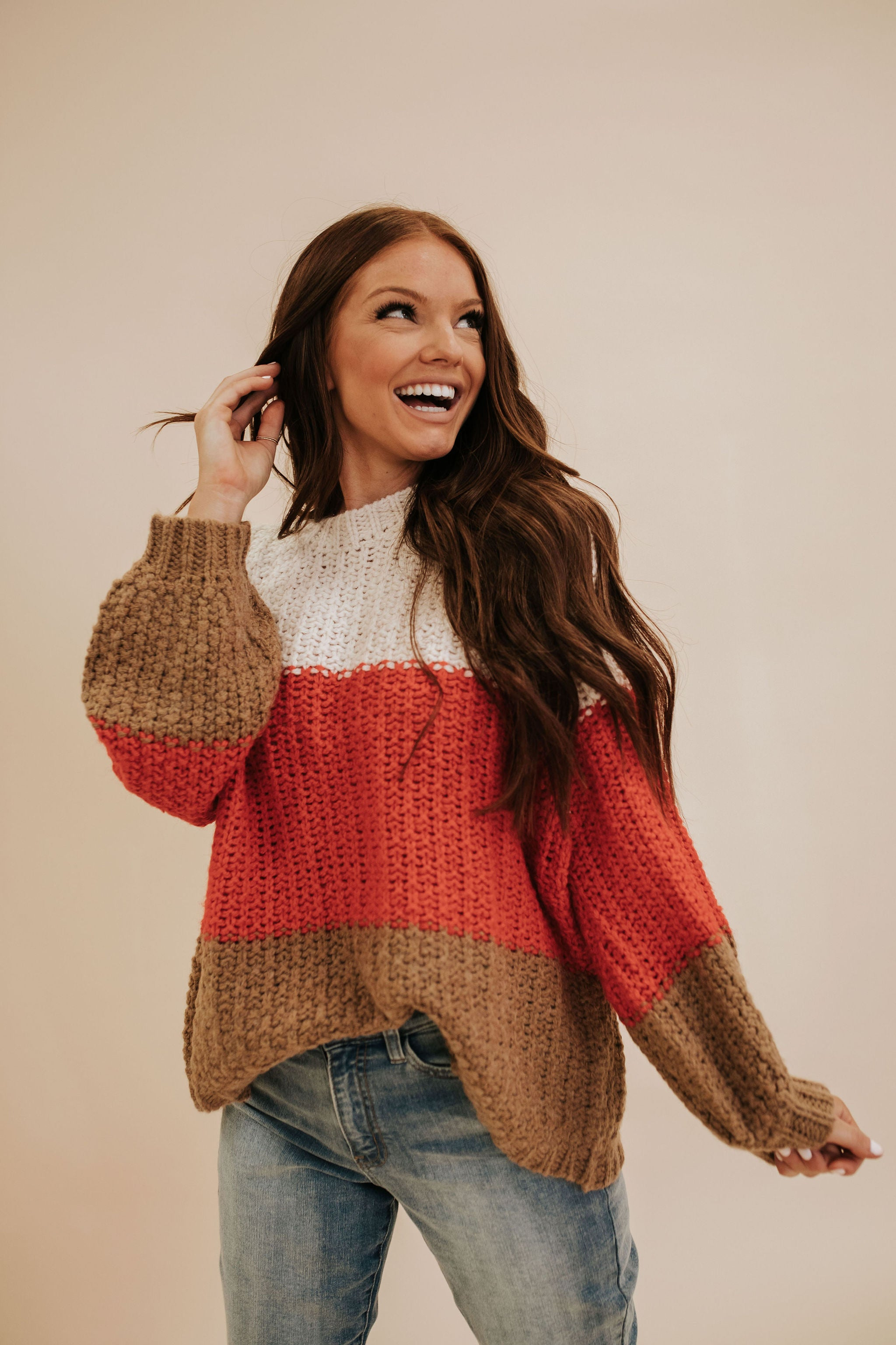 THE COZY CABIN COLOR BLOCK SWEATER IN IVORY
