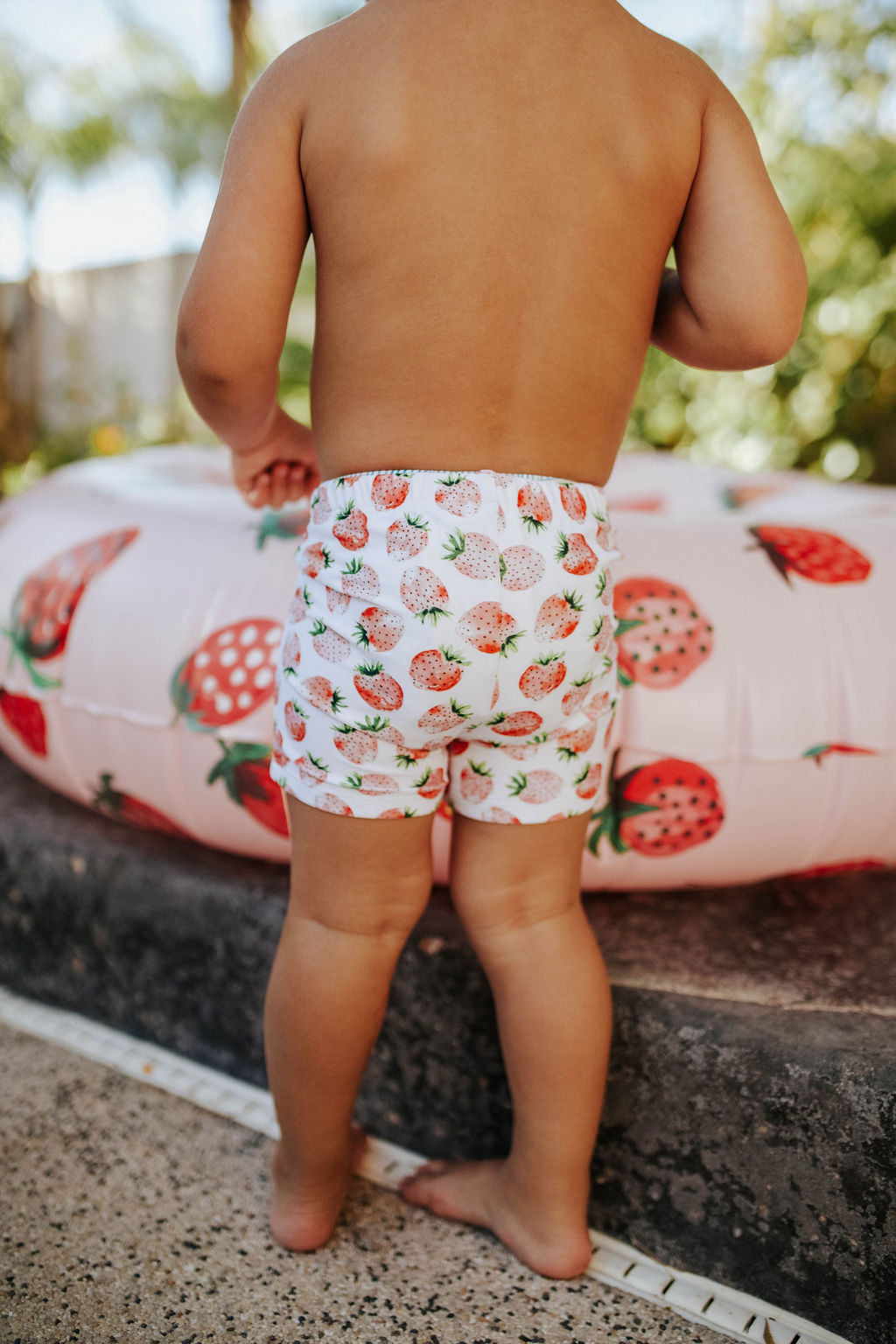 PINK DESERT BOYS EUROPEAN CUT SWIM SHORT IN SUMMER STRAWBERRY