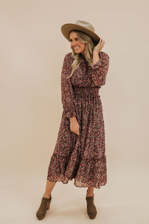 THE AMONG THE WILDFLOWERS MIDI DRESS IN PLUM