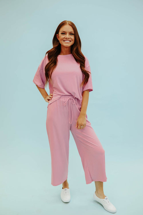THE REECE RIBBED JOGGER SET IN LILAC