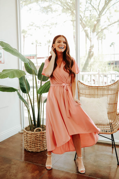 THE JANEL WRAP DRESS IN BLUSH