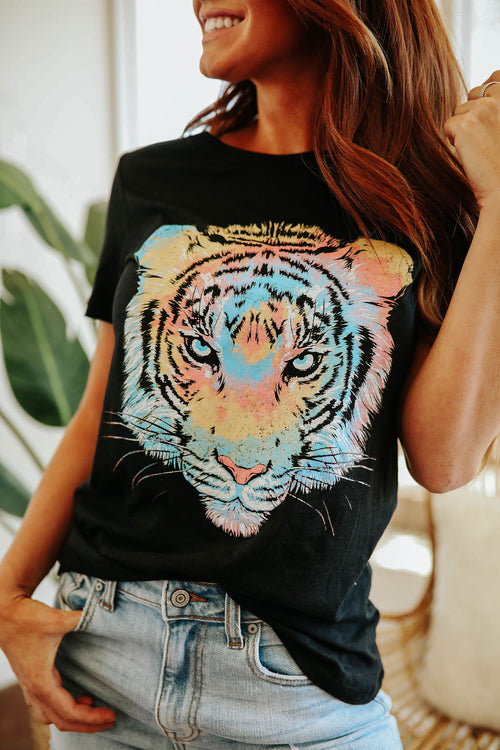 THE TIE DYE TIGER GRAPHIC TEE IN BLACK