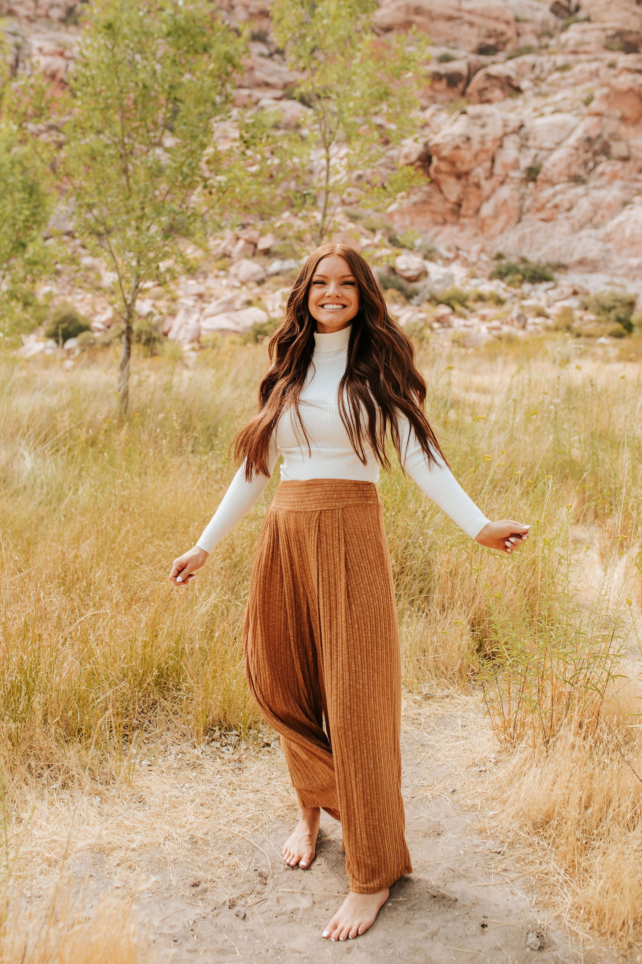 THE LET IT BE WIDE LEG PANTS IN CAMEL