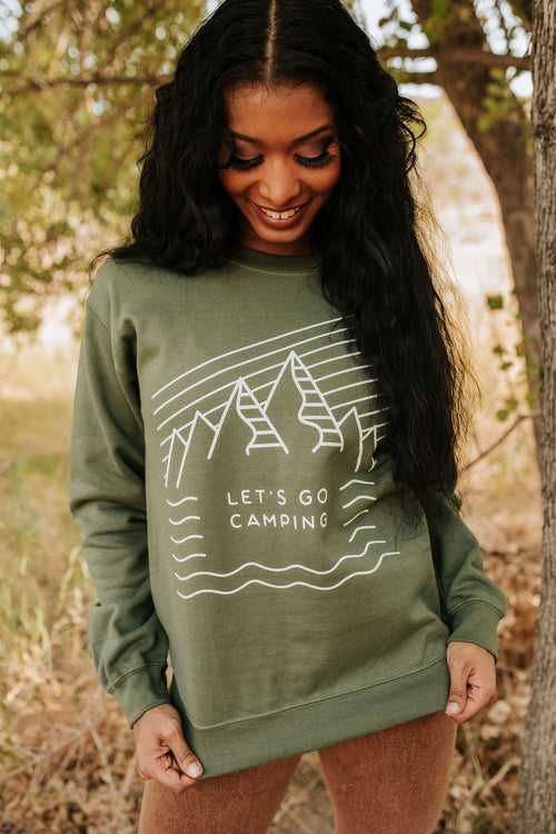 THE LET'S GO CAMPING PULLOVER IN MILITARY GREEN