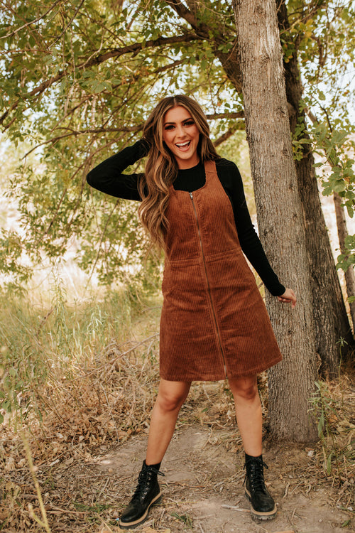 THE CATCH ME CORDUROY MINI DRESS IN BROWN