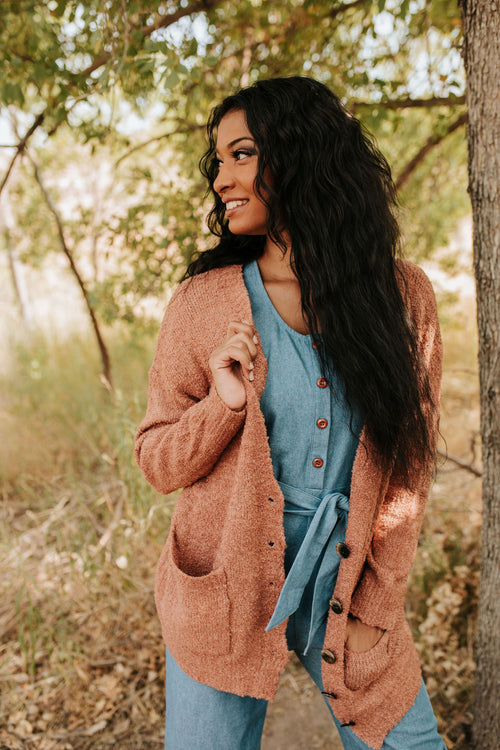THE ADORE YOU CARDIGAN IN CLAY