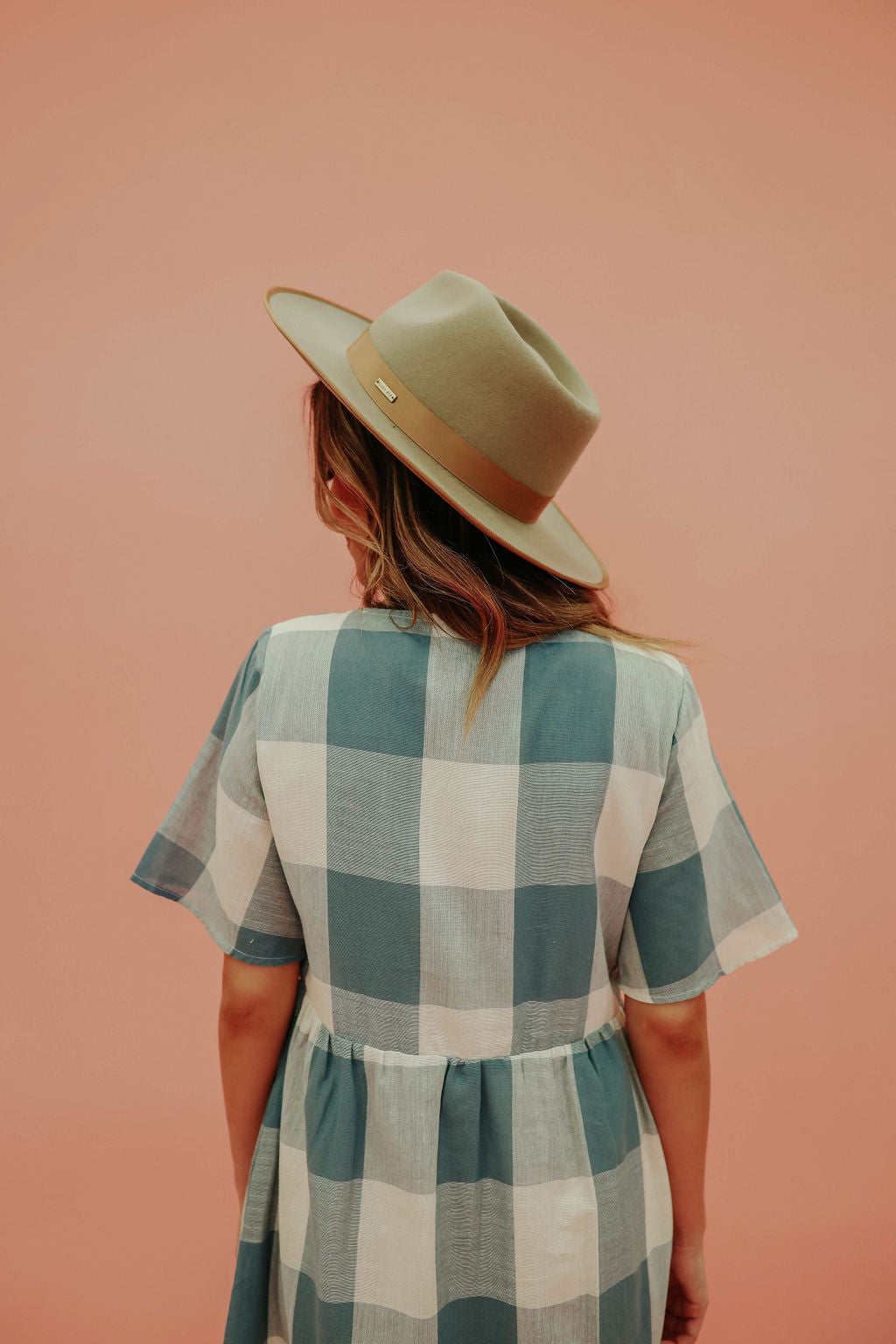 THE GRACIE GINGHAM MIDI DRESS IN BLUE