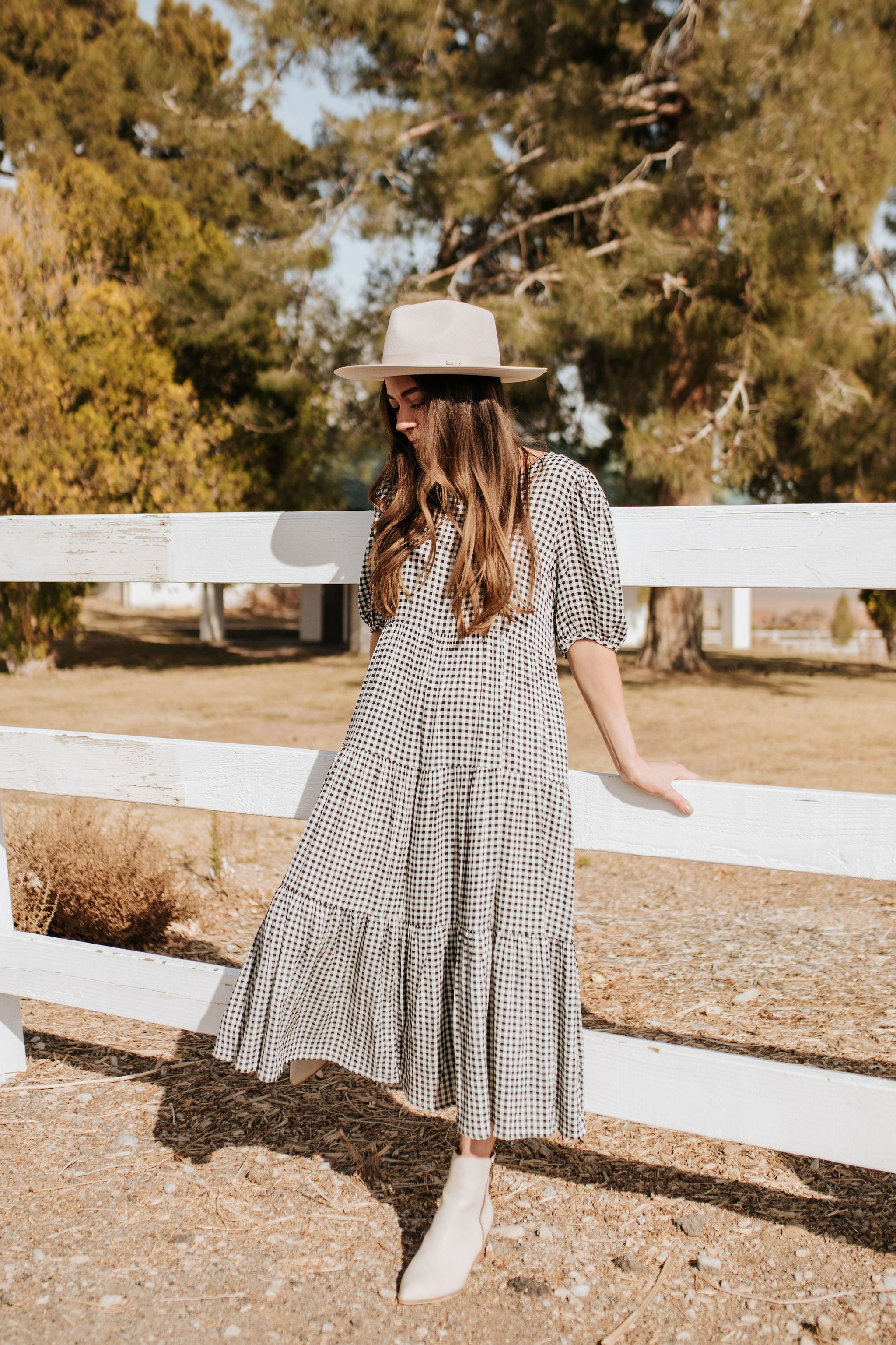 THE CARRIE GINGHAM DRESS IN BLACK