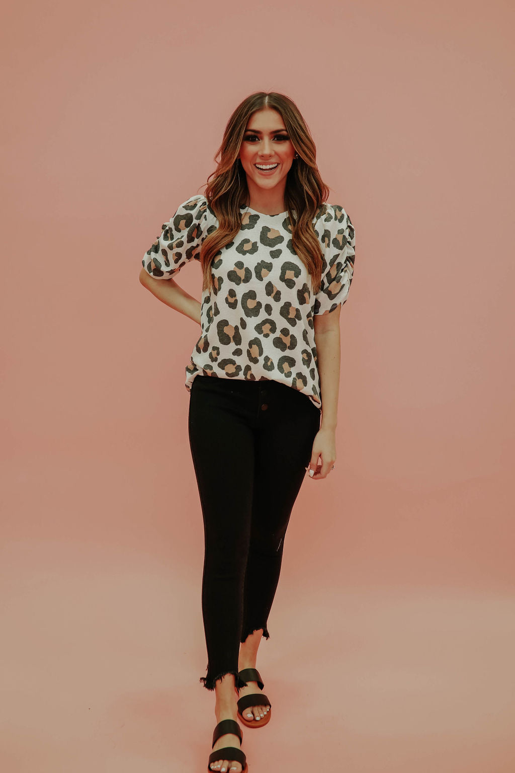 THE LUNA LEOPARD TOP IN OFF WHITE