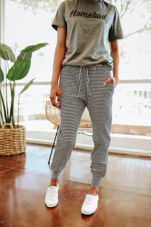 THE JACE JOGGER PANT IN BLACK AND WHITE STRIPE