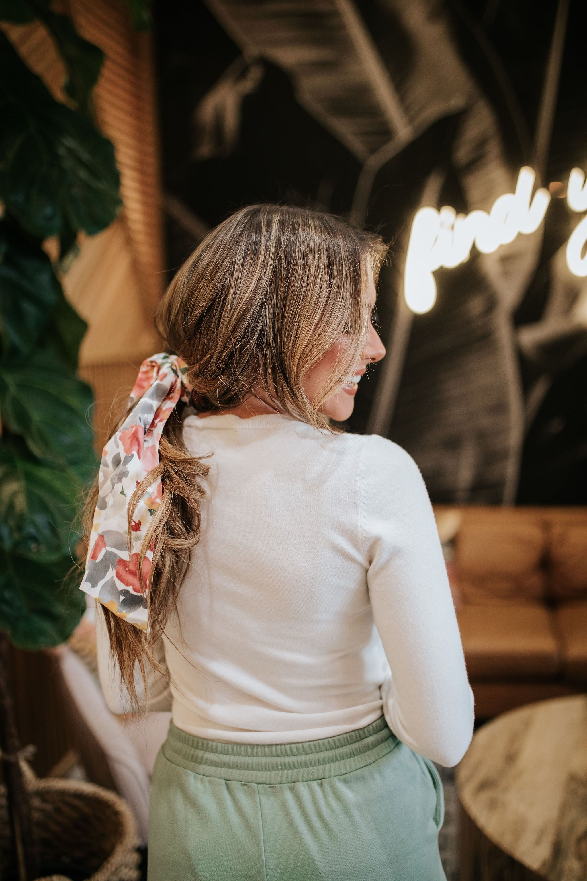 THE SPRINGTIME FLORAL SCRUNCHIE SCARF IN WHITE
