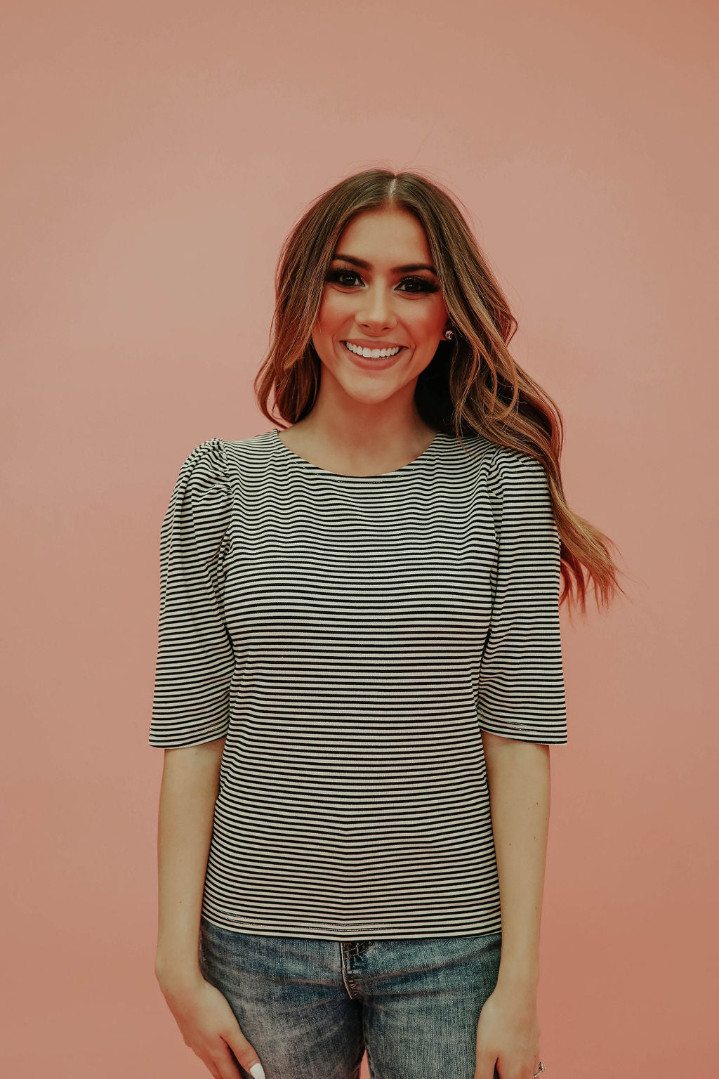 THE POLLEY PUFFED SLEEVE TOP IN BLACK STRIPE
