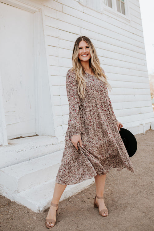 THE BROOKS BUTTON FRONT DRESS IN TAUPE FLORAL