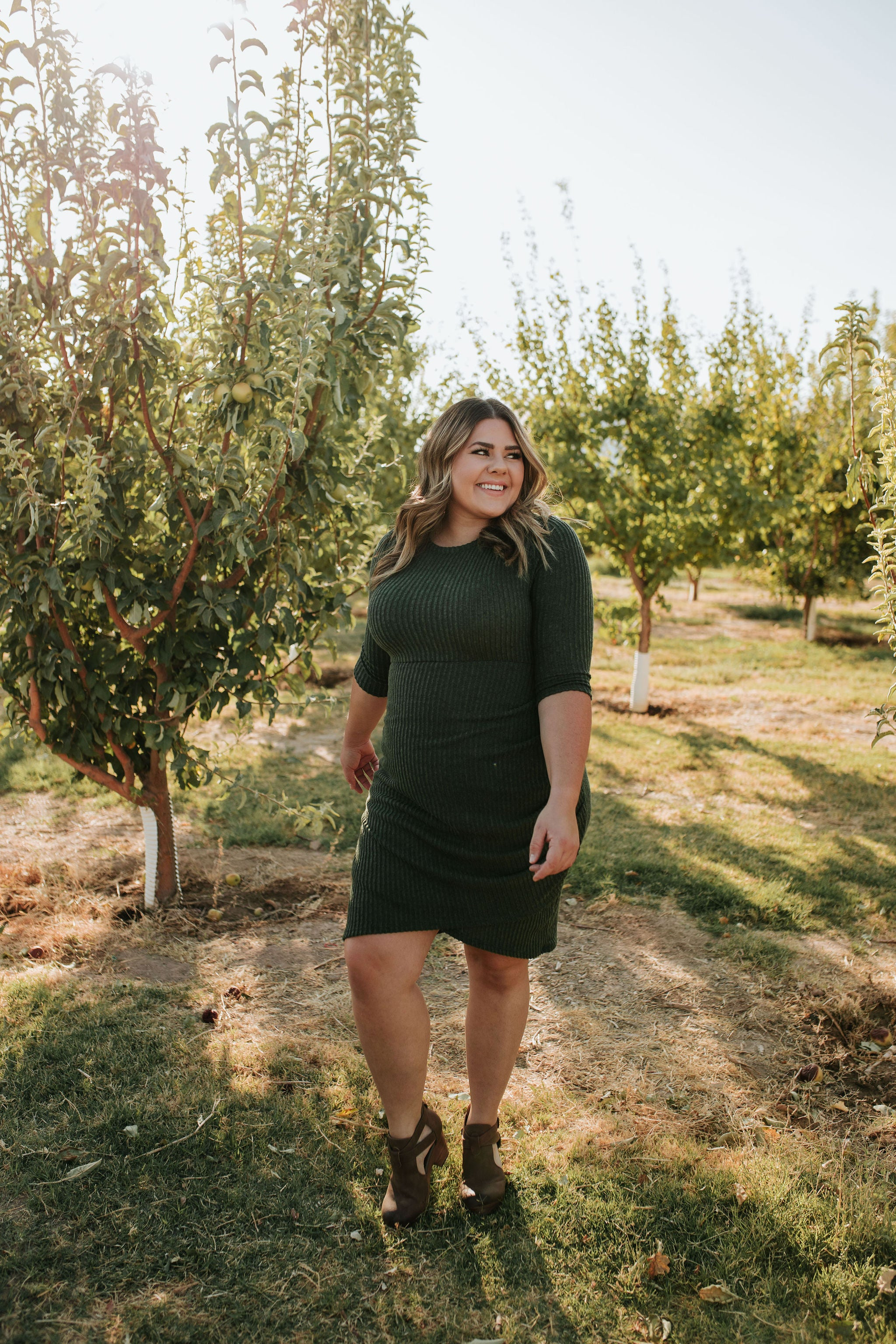 THE LUCKY YOU MIDI DRESS IN OLIVE