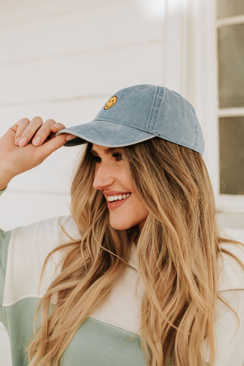 THE SMILEY FACE VINTAGE WASHED HAT IN DENIM BLUE