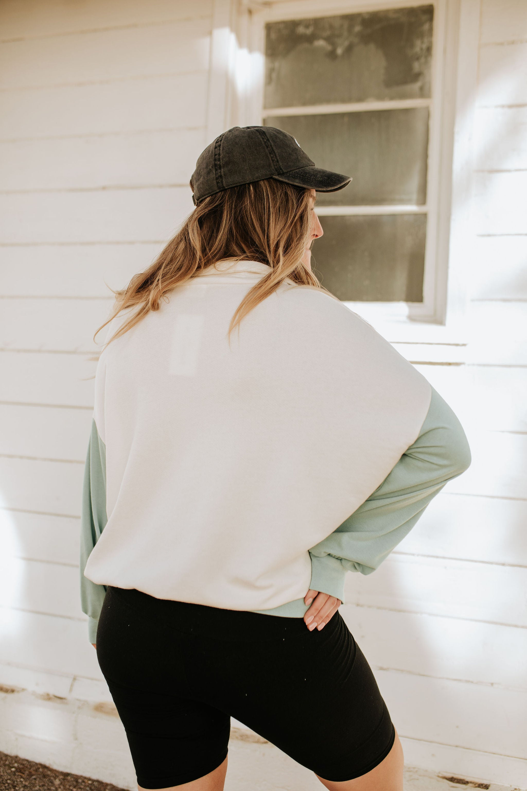 THE PIER COLOR BLOCK PULLOVER IN SAGE