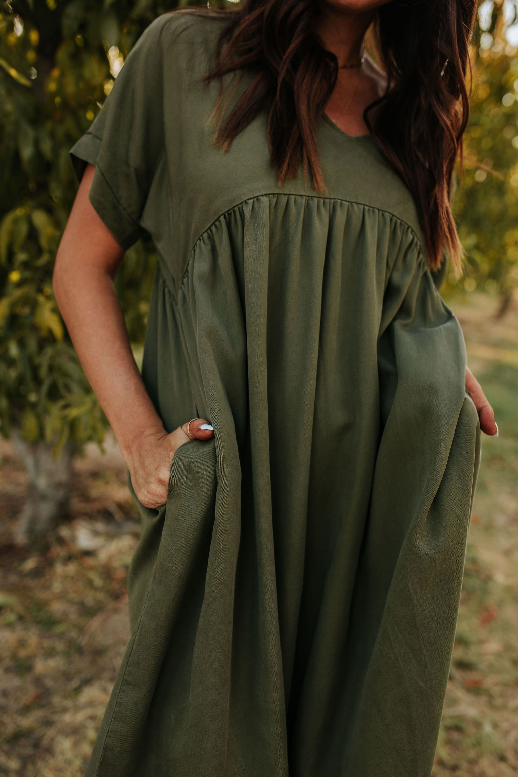 THE FALL FEELS BABYDOLL DRESS IN OLIVE