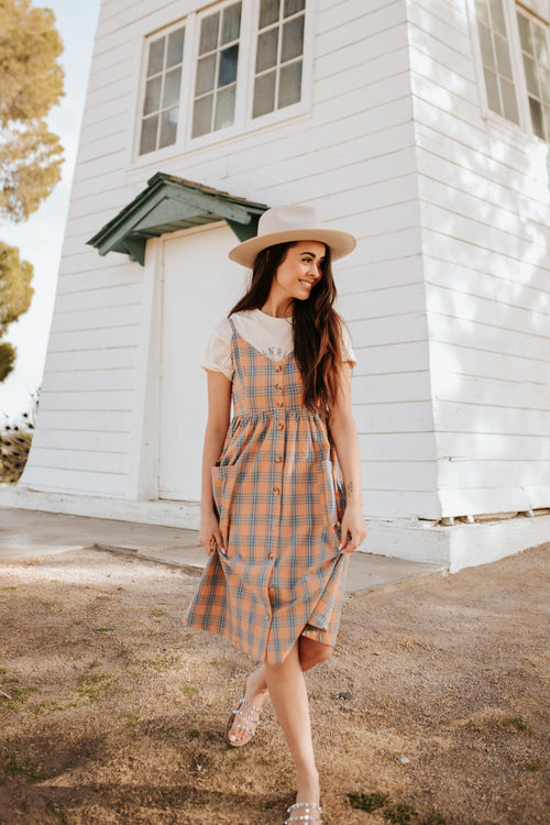 THE LET'S GO PLAID MIDI DRESS IN PEACH AND NAVY