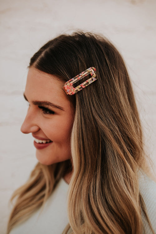 THE RECTANGULAR CONFETTI PRINT HAIR CLIP