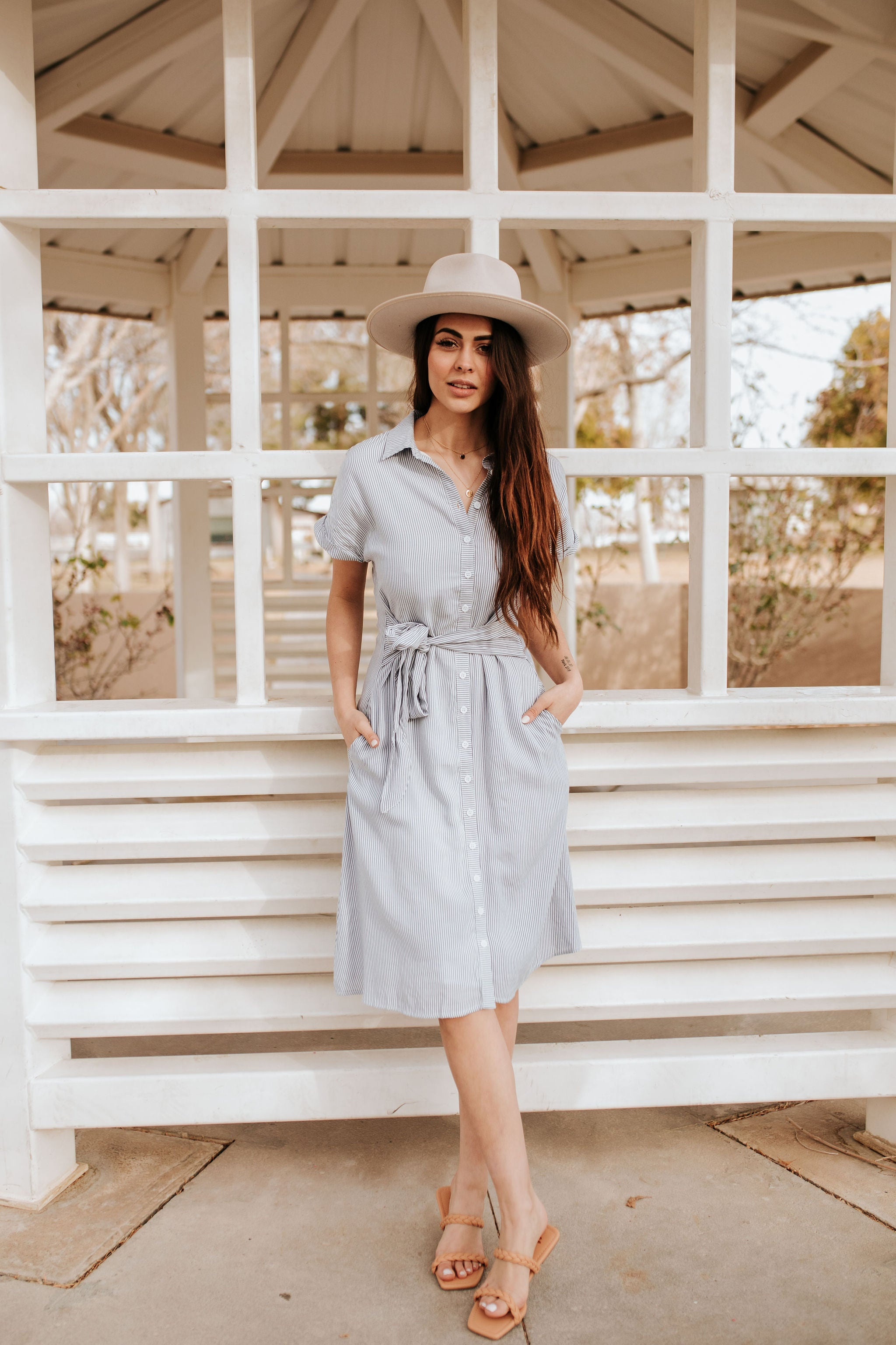 THE PINK DESERT PINSTRIPE HAMPTON BUTTON DOWN DRESS