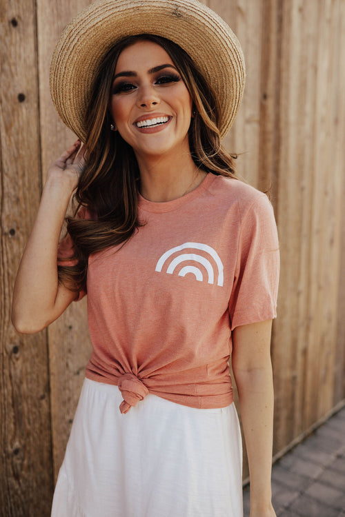 THE RAINBOW GRAPHIC TEE IN HEATHER SUNSET