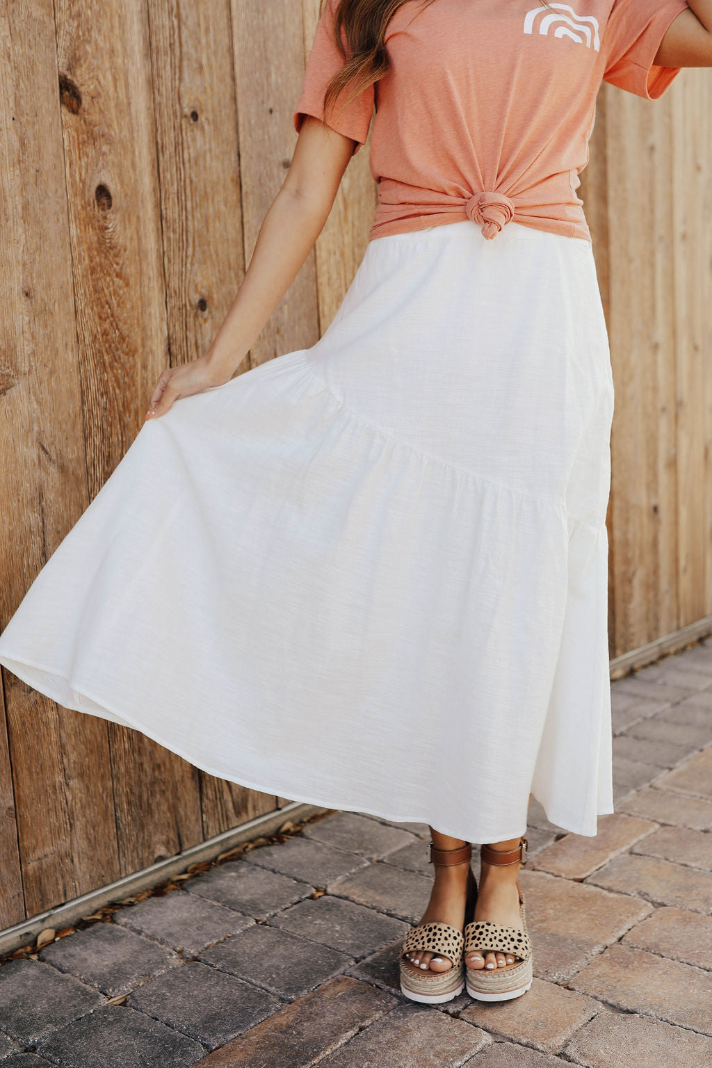THE LEANY MIDI SKIRT IN OFF WHITE