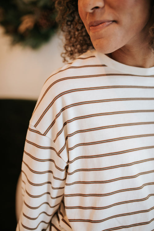 THE SAILOR STRIPED LONG SLEEVE TOP IN CREAM