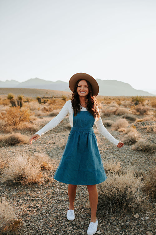 THE DENIM PINAFORE DRESS BY PINK DESERT