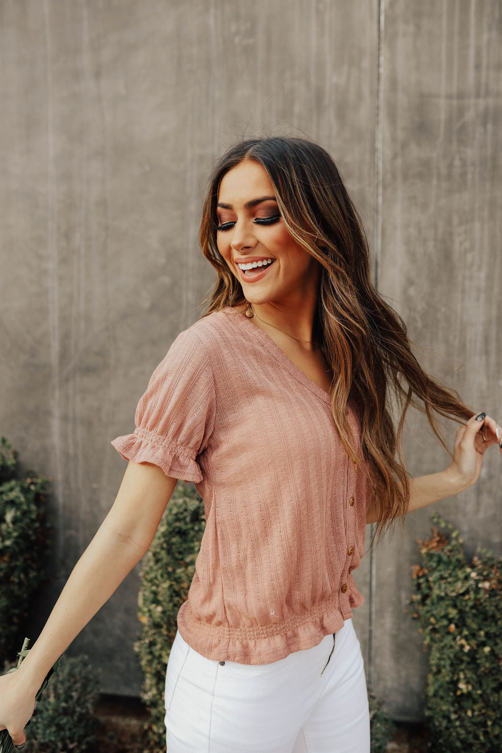 THE PRIMM PUFF SLEEVE TOP IN MAUVE