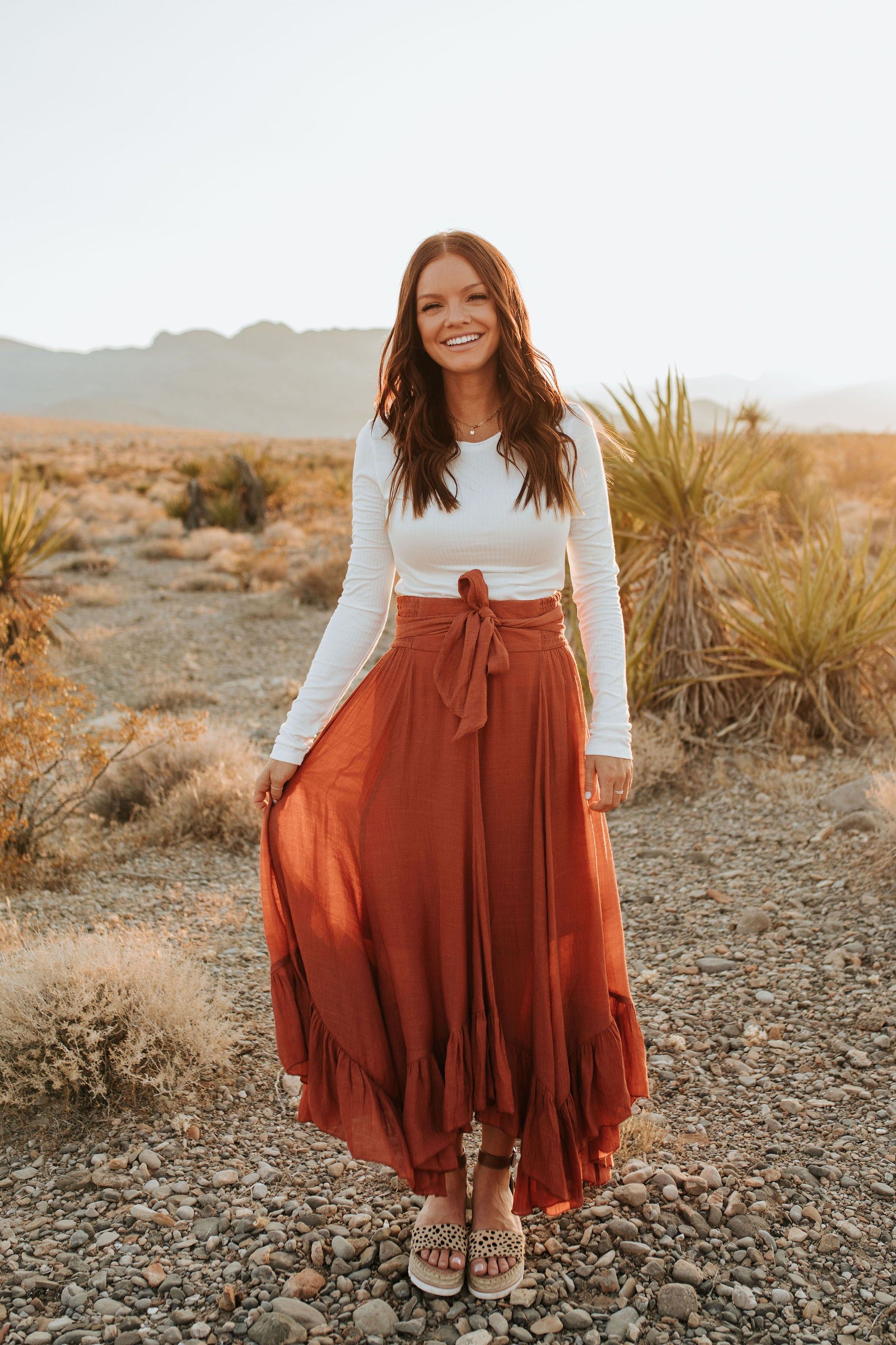 THE MARISSA MAXI SKIRT IN TERRACOTTA