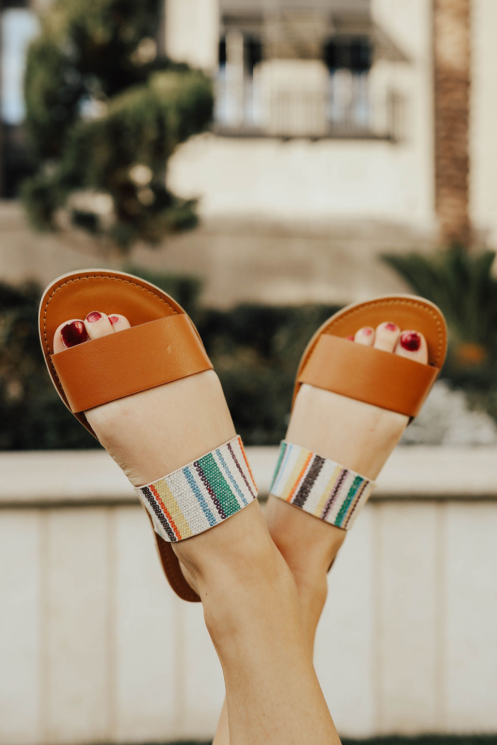 THE DOUBLE STRAP SANDAL IN MULTI STRIPE