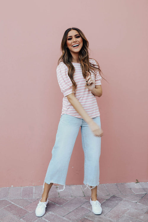 THE CHRISSY STRIPED PUFF SLEEVE TOP IN BLUSH