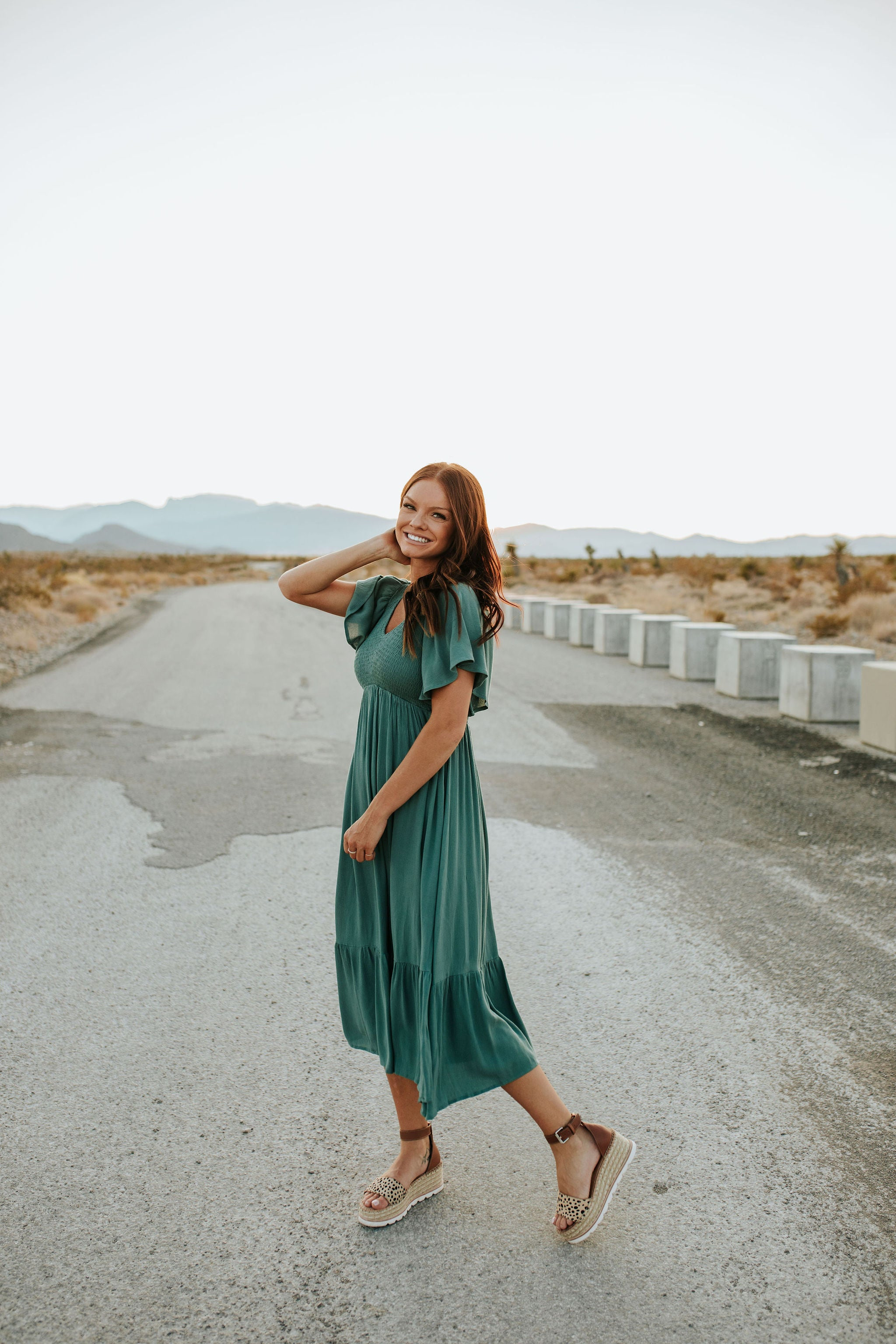 CATCH THE BREEZE MIDI DRESS IN DARK SAGE