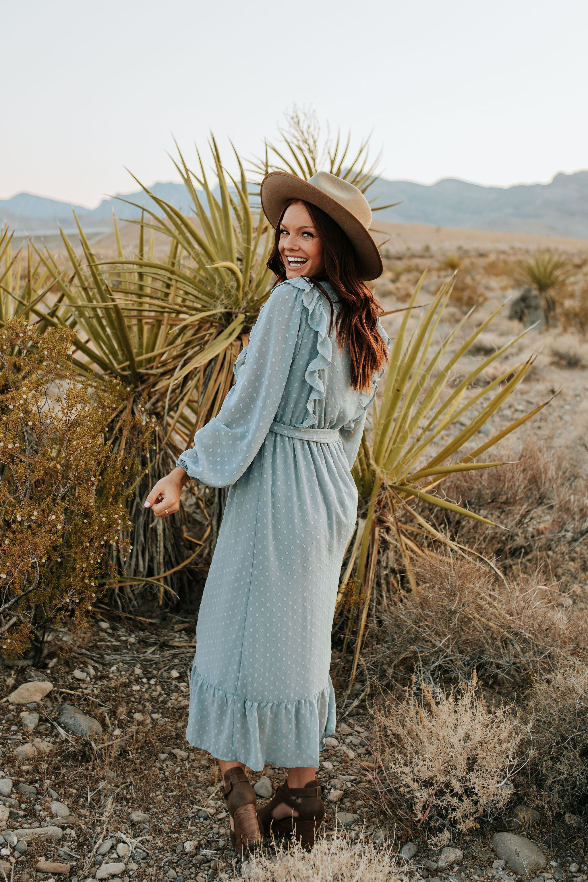 THE SWEETER THAN FICTION RUFFLE MAXI DRESS IN DUSTY BLUE